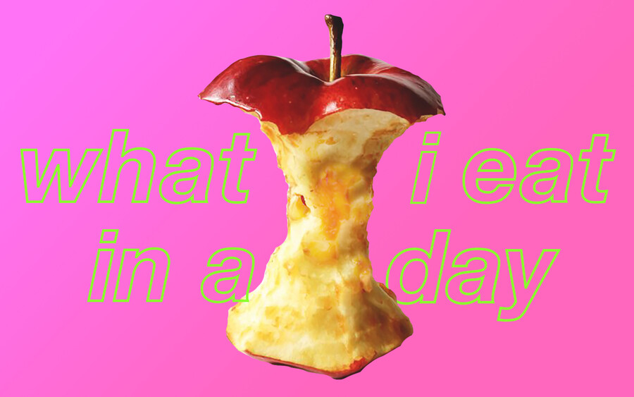 """An apple with the text, """"what I eat in a day."""""""