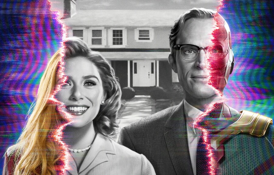 A black and white image is surrounded by color, with Wanda Maximoff (Elizabeth Olsen) and The Vision (Paul Bettany) as the focus.
