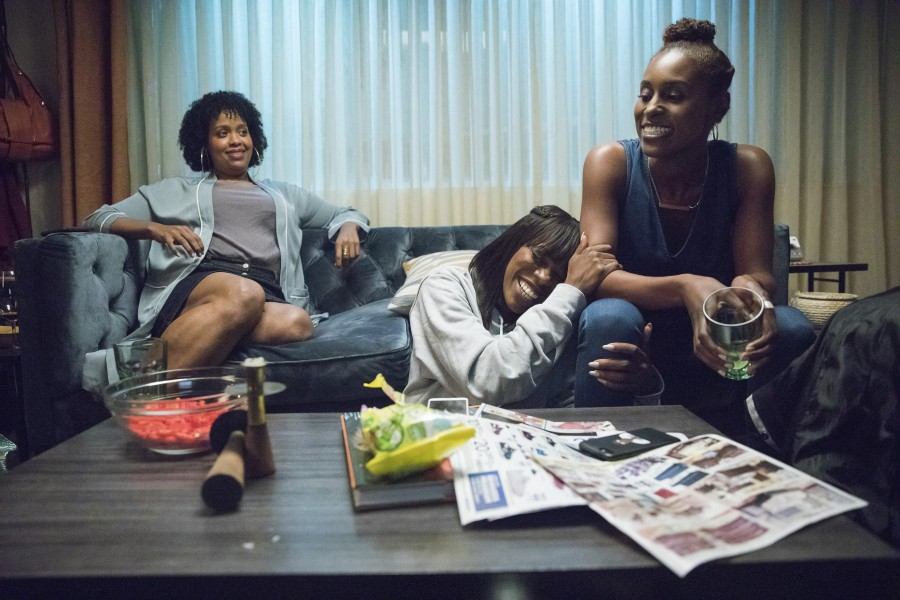 Natasha Rothwell as Kelly, Yvonne Orji as Molly and Issa Rae as Issa in Insecure