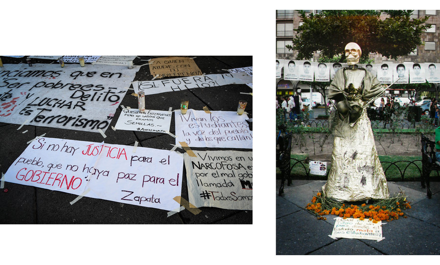 (image 1) a group of political posters laid together (image 2) statue with skull surrounded marigolds in front of images murdered students
