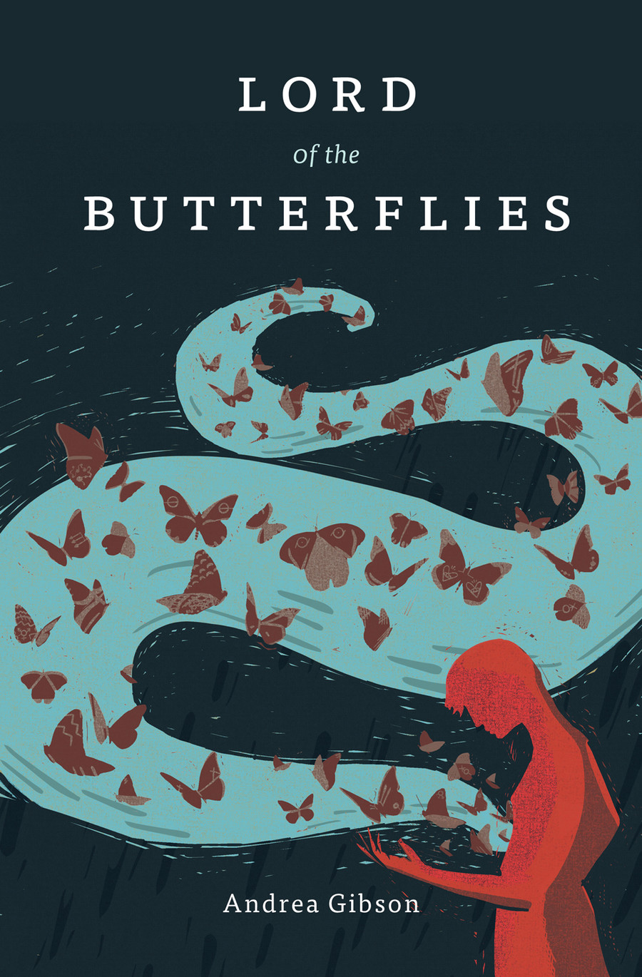 Cover Lord of the Butterflies by Andrea Gibson with a blue swirl and butterflies