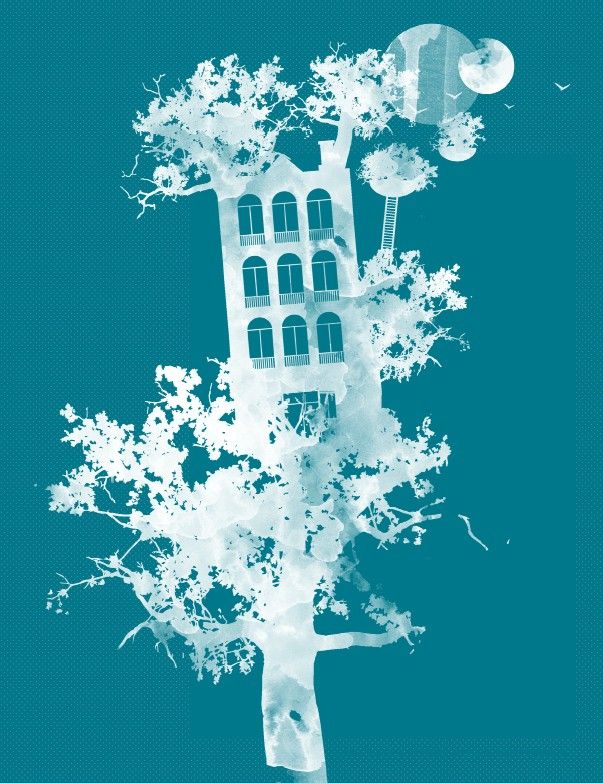 A graphic white illustration on a turquoise background. In it, a multistoried building sits in the branches of a tree. The images are opaque silhouettes, almost ghostly against the bold background.