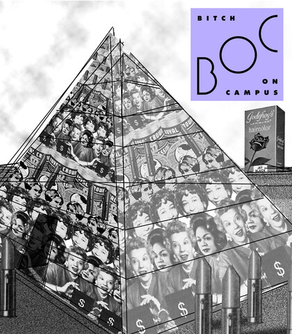 black and white collage of a pyramid made up of women's faces and a scattering of open lipsticks.