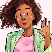 A comic drawing of Ashanti Forston, a Black artist with short brown curly hair and white wire-rim glasses, as she holds her right hand up