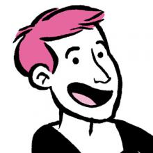 Pink-haired smiling cartoon white woman