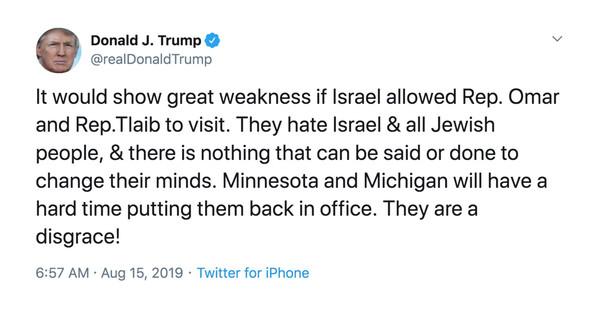 Following Trump Tweets, Israel Bars Reps. Rashida Tlaib and Ilhan Omar