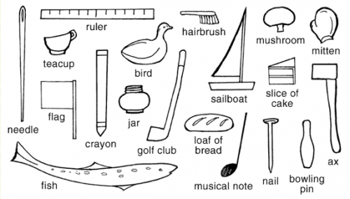 black and white illustration of the objects that are hidden in the Blackwell illustration