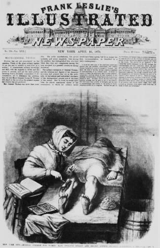 a newspaper illustration advertising the infirmary--shows a woman operating on someone's leg