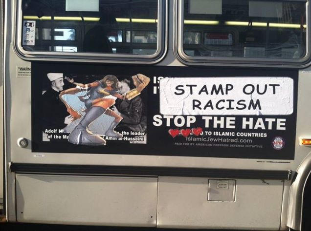 "new bus ad says ""stamp out racism"""