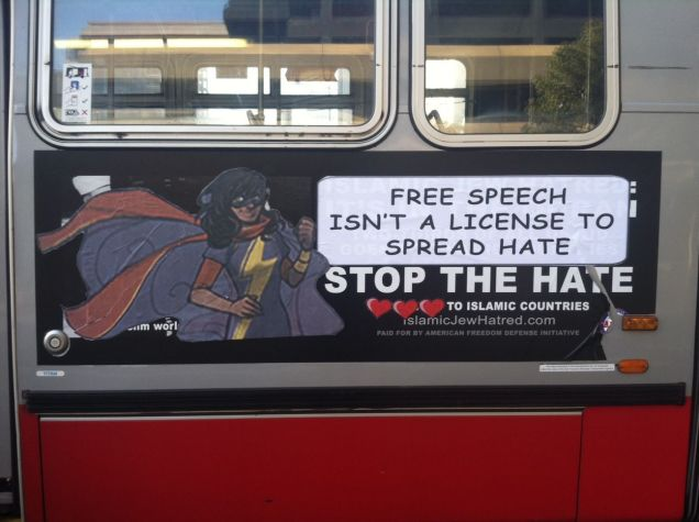 "ad says: ""free speech isn't a license to spread hate."""