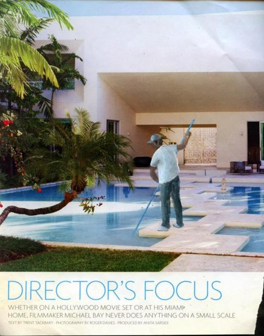 An altered magazine page shows a worker cleaning a fancy pool
