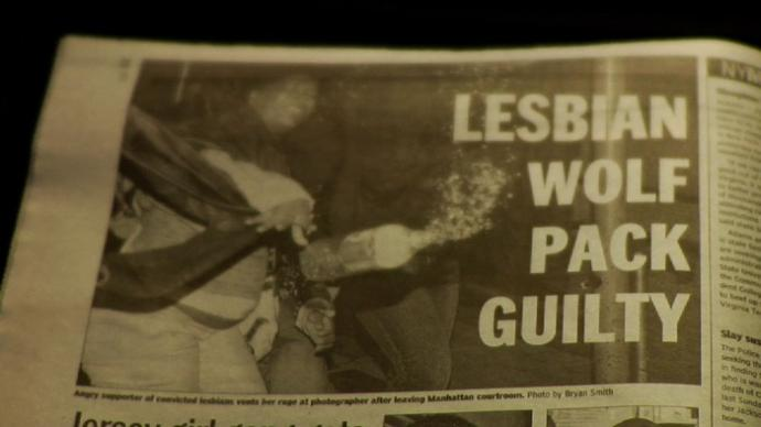 "headline reading ""lesbian wolf pack guilty"""