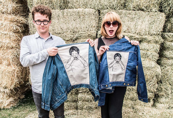 wye oak, holding denim jackets