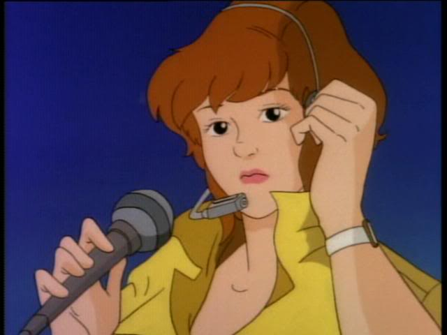 april o'neil in the 1987 tv show, wearing a headset