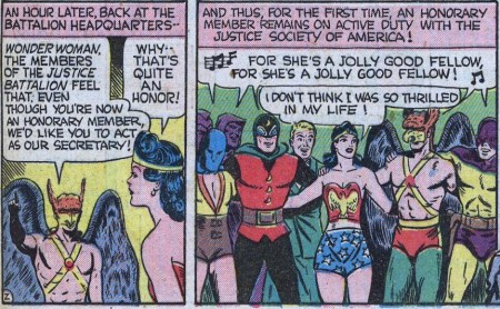 in a WWII era Wonder Woman comic, she celebrates being the justice league secretary