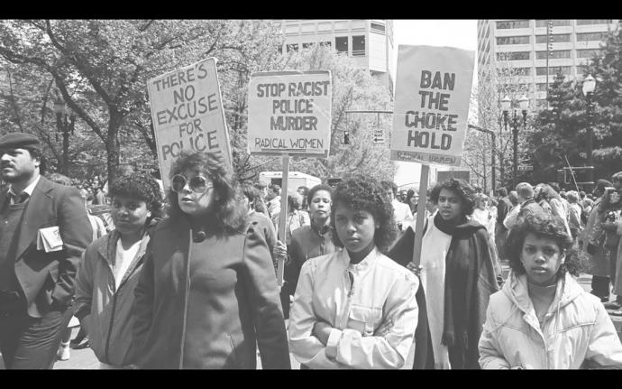 a protest march against police brutality in portland in the 1970s