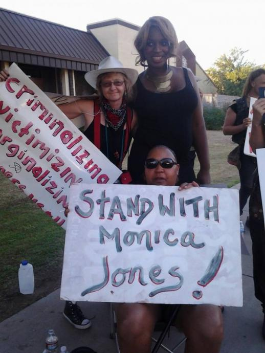 monica jones standing with protesters