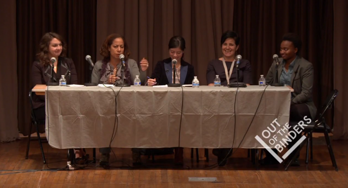 a panel of women speaking at bindercon