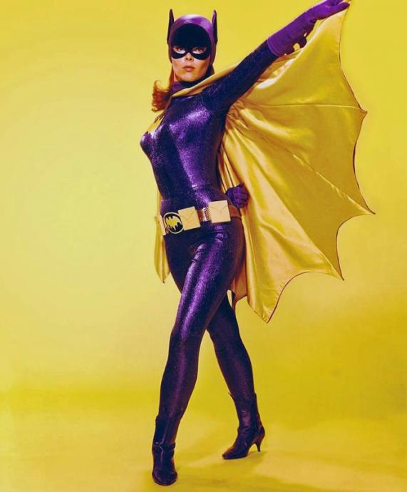 yvonne craig in a purple bodysuit and cape as batgirl