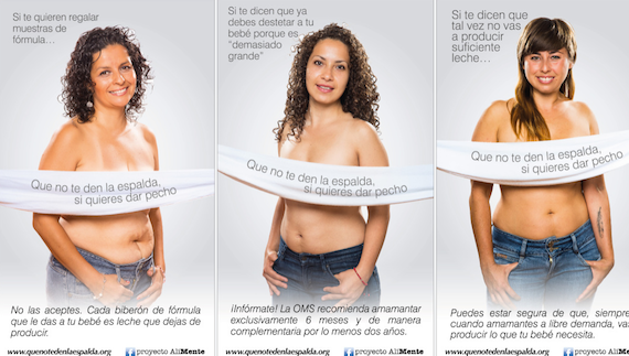 a mock campaign shows three women who are not models promoting breastfeeding