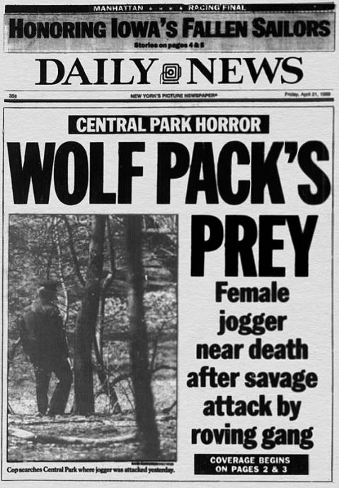 "new york daily news front page says the ""wolf pack"" preyed on the jogger"