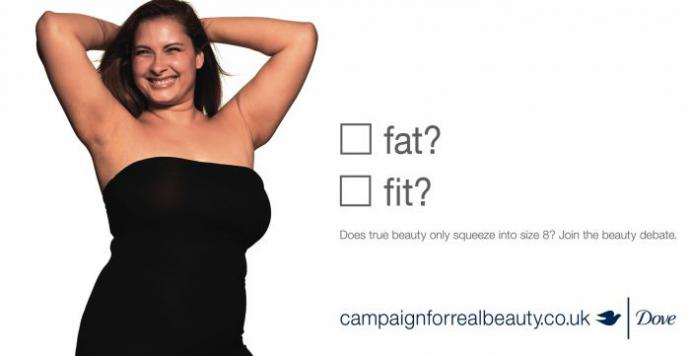 "dove ad campaign shows a woman and asks ""fat or fit?"""