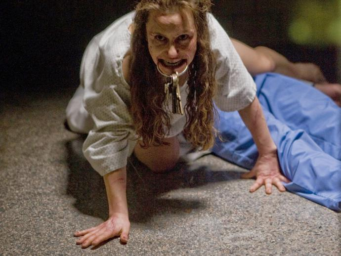 In the film, Jane, a woman, crawls around with keys in her mouth
