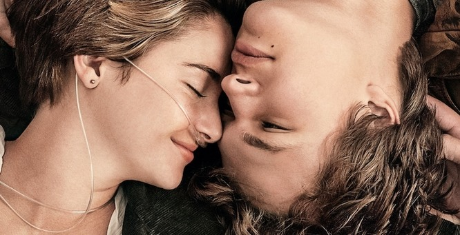the fault in our stars poster, featuring shailene woodley and ansel elgort leaning on each other in a cute way.
