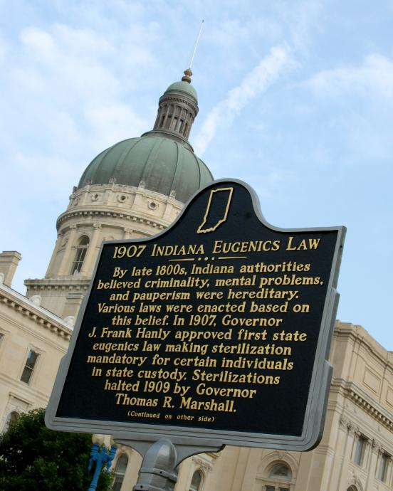 a plaque in Indiana recognize's the history's troubled history of steriization