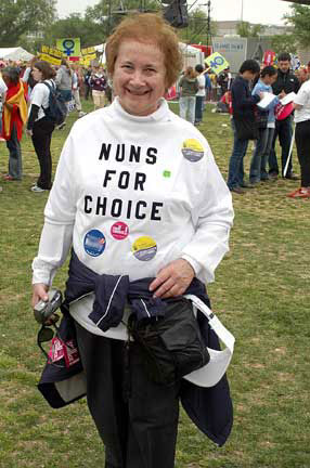 donna quinn wearing a nuns for choice shirt