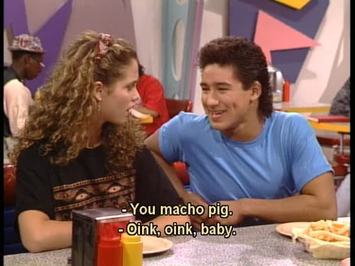 "jessie says ""you're a macho pig"" and slater replies ""oink oink baby"""
