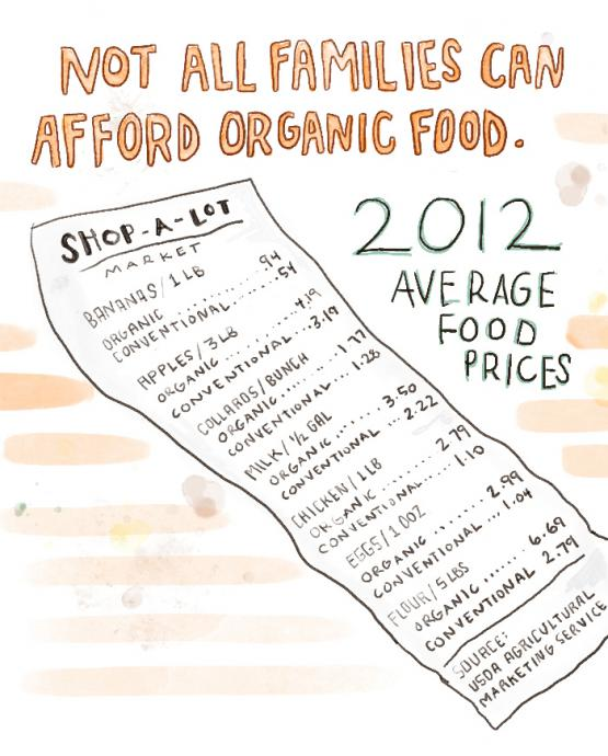 chart shows the costs of organic food vs conventional food