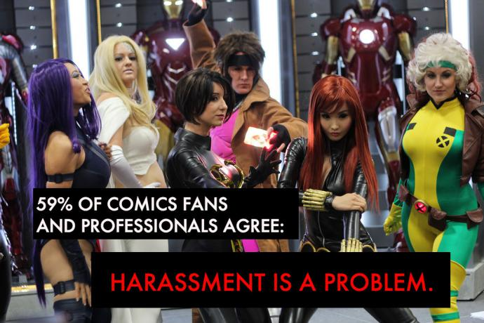 cosplayers at SDCC in 2012, with text added that 59 percent of comics fans and professionals feel that harassment is a problem