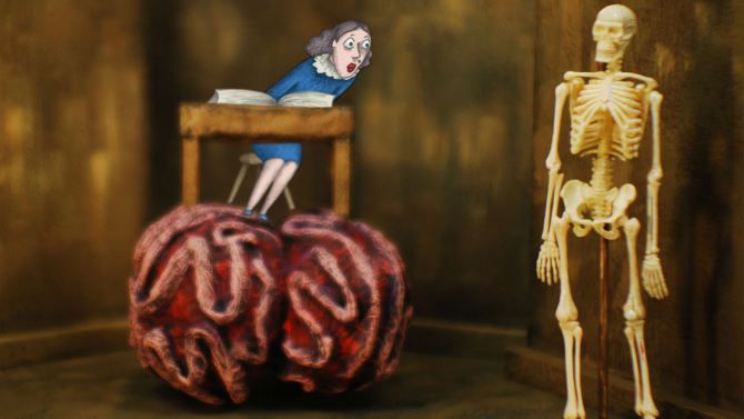 a still from the film shows a brain with an older woman sitting on it