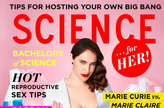 "the cover of the satirical book ""science for her"" has a photo of the author in a labcoat and says ""host your own big bang"""