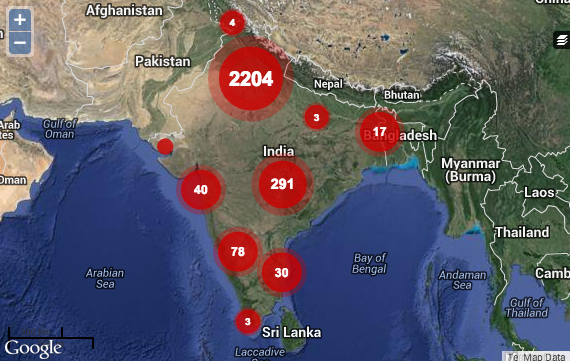 A map documenting street harassment incidents in india