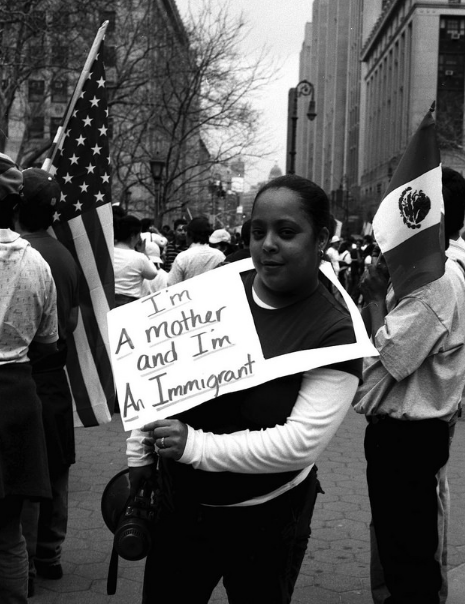 a woman at the immigration protest