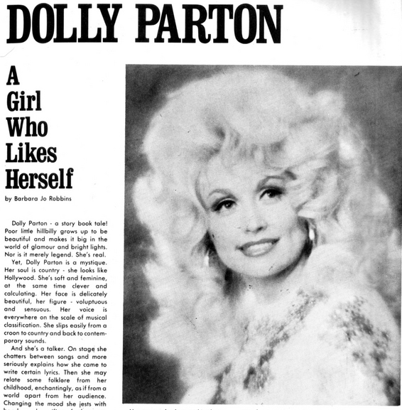 "the magazine headline says ""dolly parton: a girl who likes herself."""