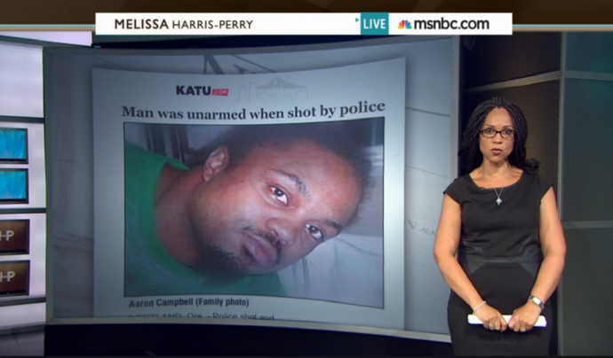 melissa harris-perry showing examples of unarmed black men shot by police