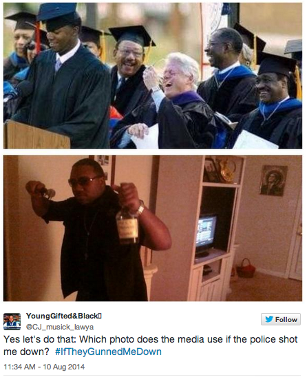 "twitter user ""young gifted and black"" asks what photo media would use if he were gunned down: one of graduating high school or one with a liquor bottle?"