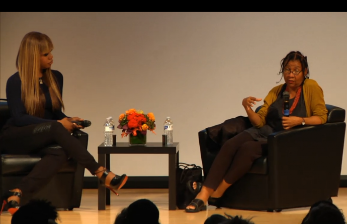 bell hooks and laverne cox onstage