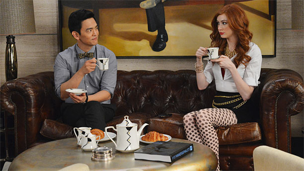 "john cho and karen gillan eye each other while drinking tea in ""selfie"""