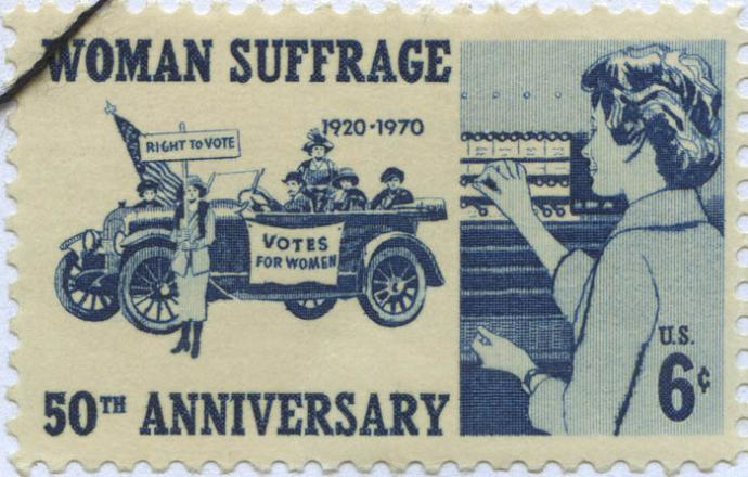 "stamp says ""women's suffrage"""