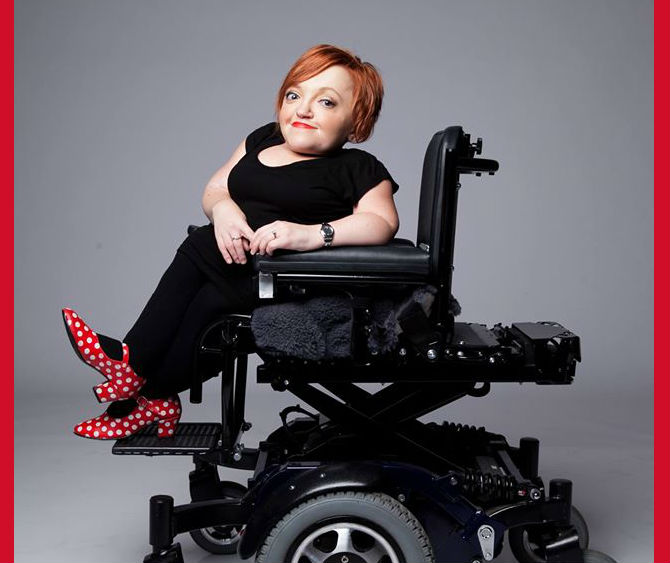stella young, wearing polka dot shoes