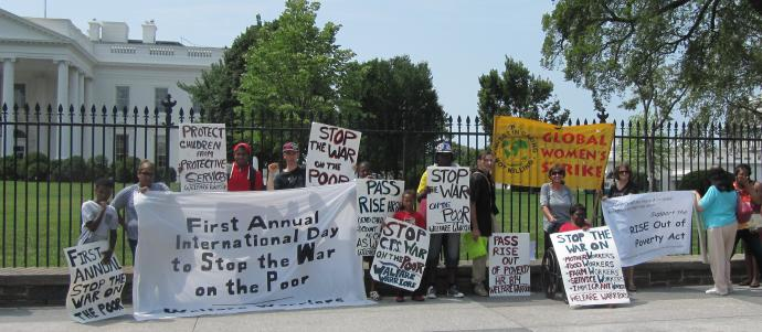 "protest outside the white house to ""stop the war on the poor"""
