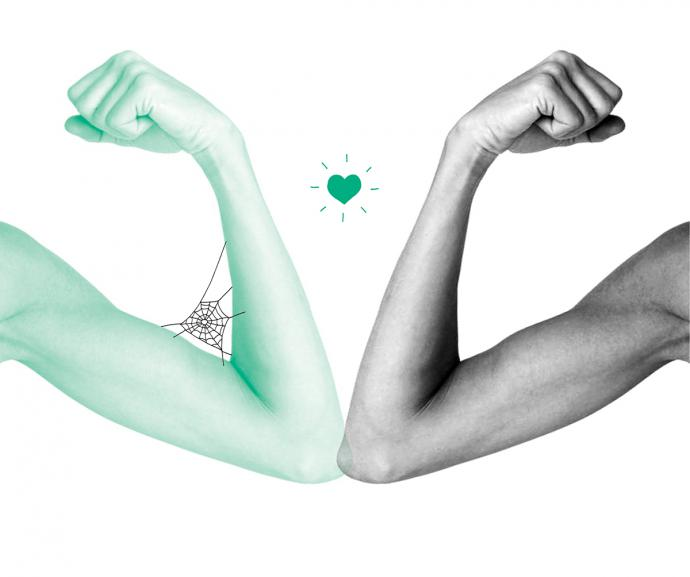 an illustration of two arms marking fists, with a heart