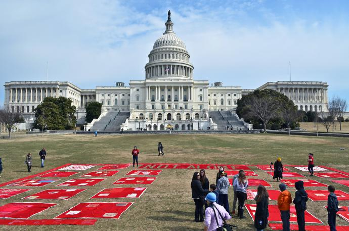 Several red quilts lay on the grass in front of the US Capitol