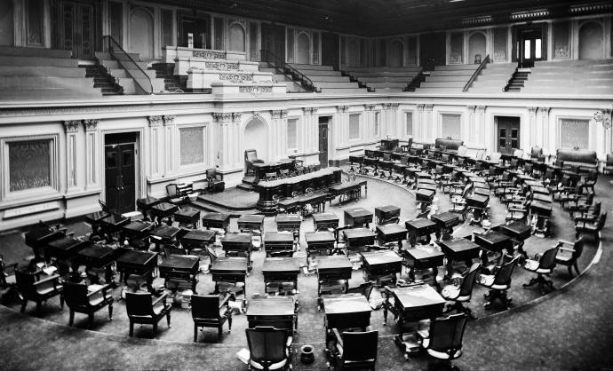the empty senate chamber