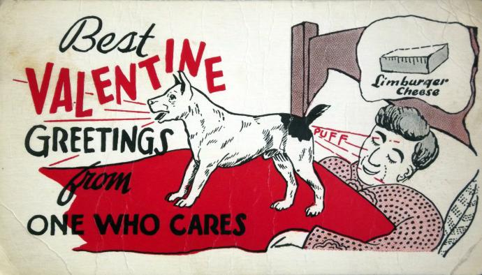 a valentine of a dog farting on someone's face