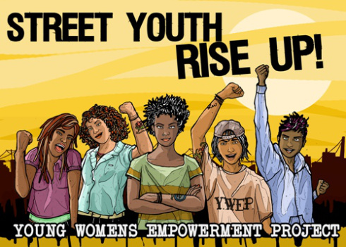 "an illustration reading ""street youth rise up"""